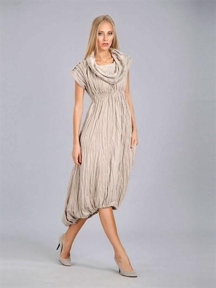 Льняное платье с воротником-капюшон - фото 24373