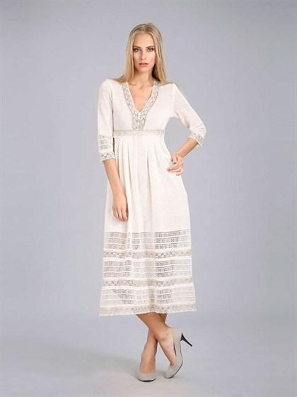 Платье изо льна с кружевом - фото 24378