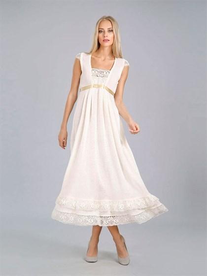 Длинное льняное платье с кружевом - фото 24400
