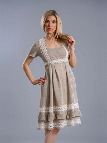 Платье льняное с кружевом - фото 24417