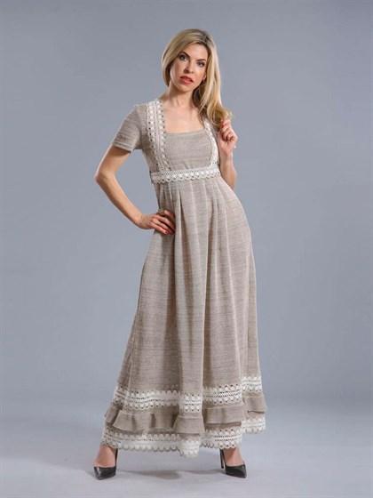 Платье длинное с кружевом - фото 24424