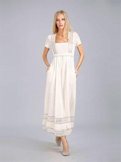 Платье длинное с кружевом - фото 24427