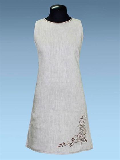 Льняное платье с вышивкой - фото 24450