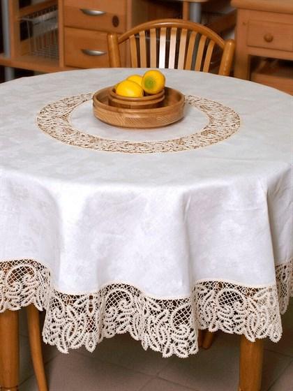 Скатерть круглая льняная с кружевом - фото 24559