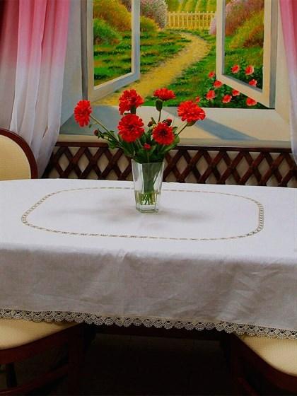 Скатерть льняная овальная с кружевом - фото 24563
