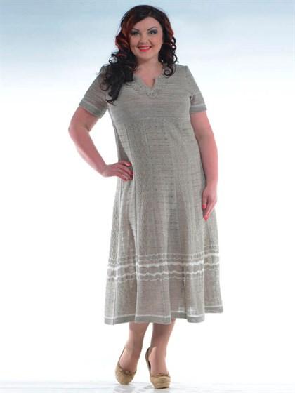 Платье льняное с коротким рукавом - фото 24569