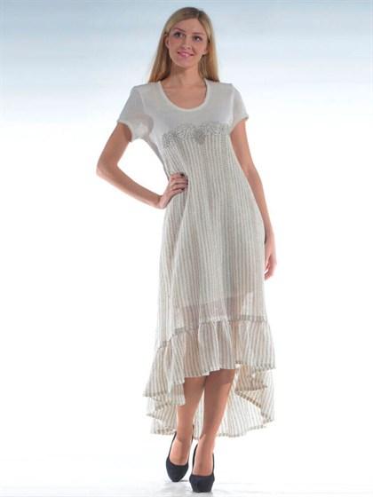 Платье льняное с кружевом - фото 24626