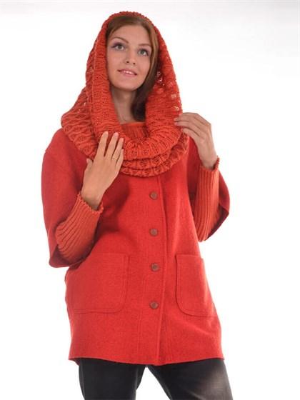 Пальто с шарфом и нарукавниками - фото 24889