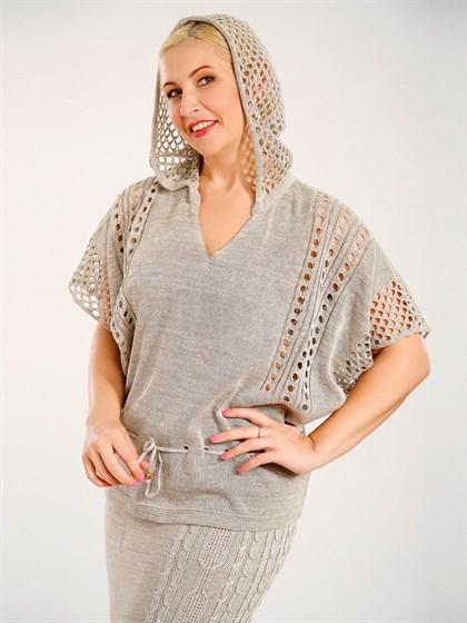 Джемпер женский с капюшоном - фото 25096