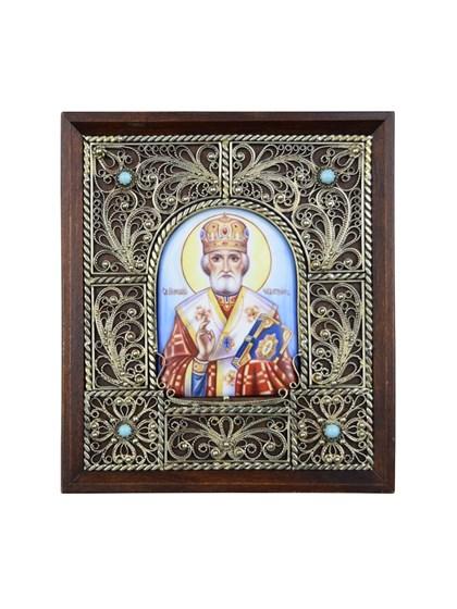 Икона финифть Святой Николай Чудотворец - фото 25248