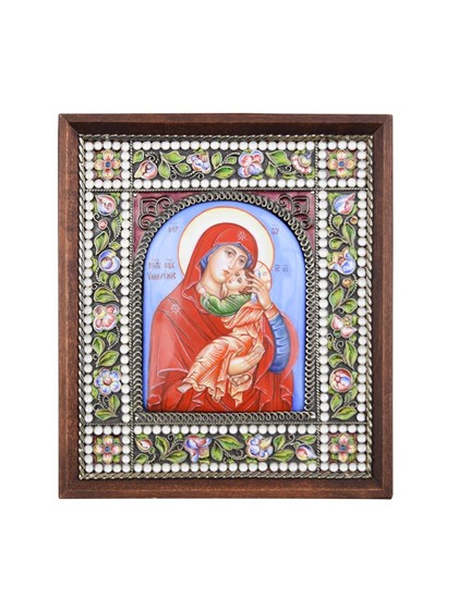 """Икона финифть Пресвятая Богородица """"Умиление"""" - фото 25250"""