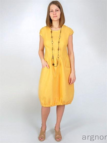 Платье изо льна с карманами - фото 25439