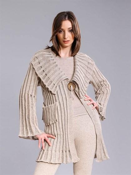Жакет -пальто из льняной пряжи - фото 25486