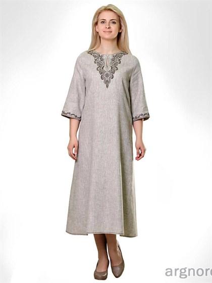 Платье льняное с вышивкой - фото 25836