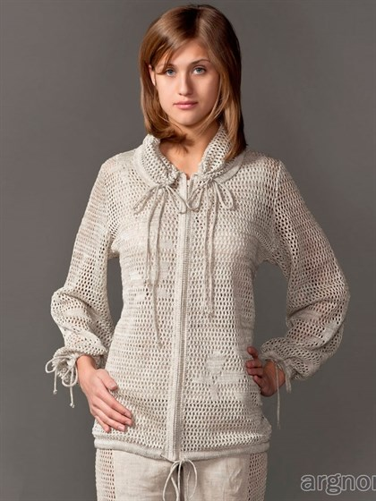 Ажурный жакет-куртка из льна - фото 26060