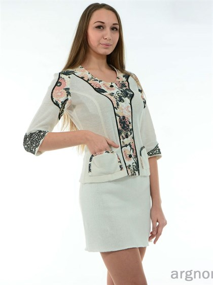 Короткая льняная юбка - фото 26364
