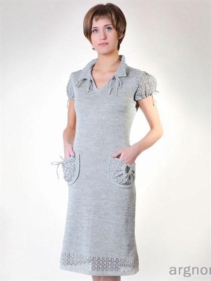 Льняное платье с рукавом - фонарик - фото 26496