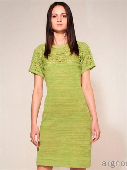 Платье изо льна с ажурной кокеткой - фото 26522