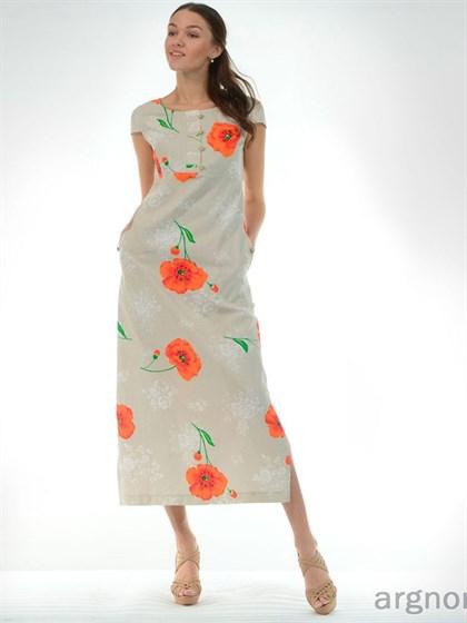 Платье льняное с цветами - фото 26649