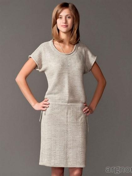 Платье из льняного трикотажа - фото 27577