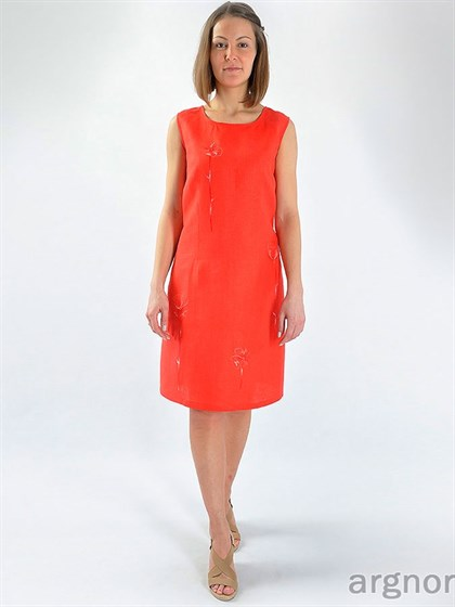 Прямое летнее платье изо льна - фото 27753