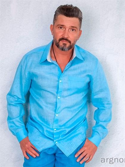 Сорочка мужская из льна - фото 27863