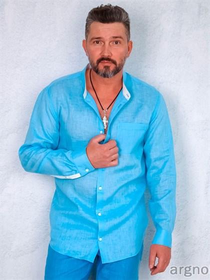 Сорочка мужская с воротником-стойка - фото 27870