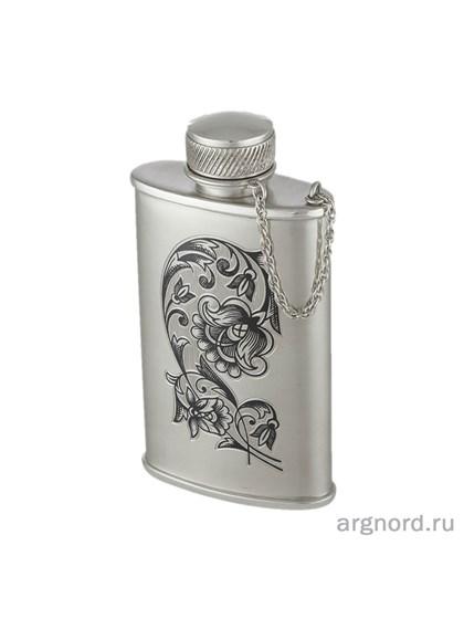 Фляжка серебряная с цветочным рисунком - фото 28306