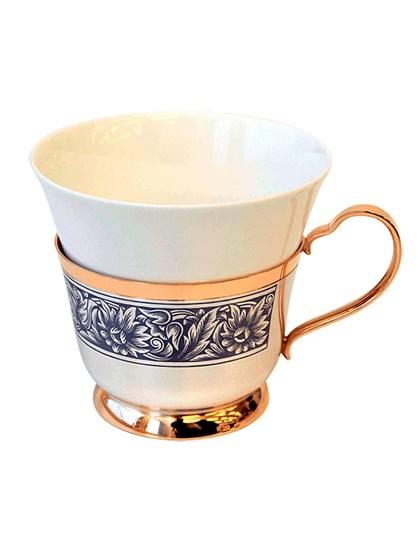 Фарфоровая чашка в серебре с золочением - фото 28447