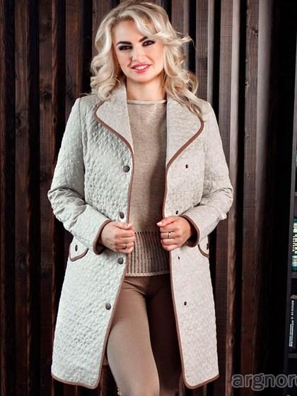 Стеганое пальто с карманами - фото 28784
