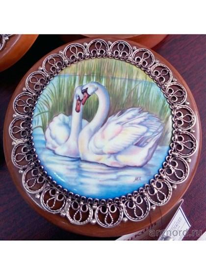 Деревянная шкатулка с расписной эмалью - фото 28902