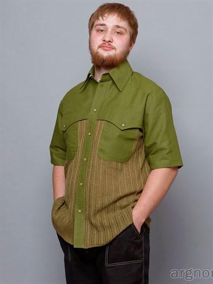 Рубашка мужская изо льна (ткань и трикотаж) - фото 29178