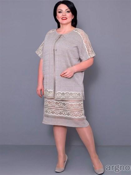 Платье льняное с кружевом - фото 30208