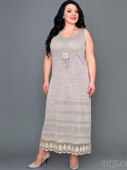 Платье льняное с кружевом - фото 30556