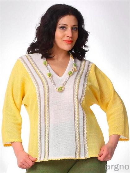 Джемпер желтый с белым - фото 30869
