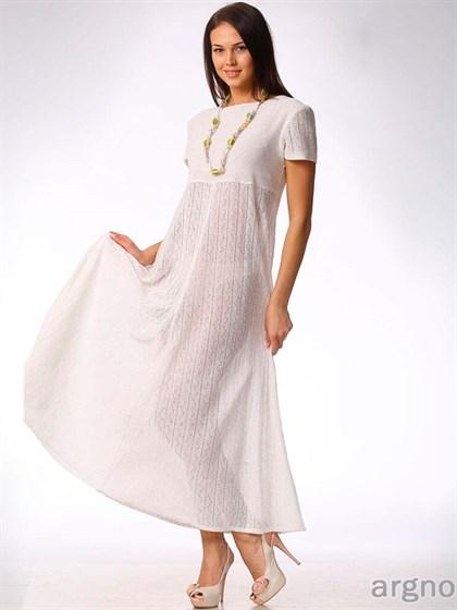 Белое платье из тонкого льняного трикотажа - фото 30882