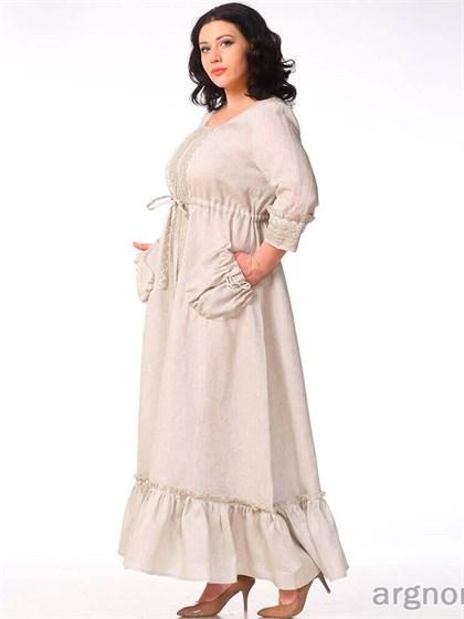 Длинное льняное платье с кружевом - фото 30899