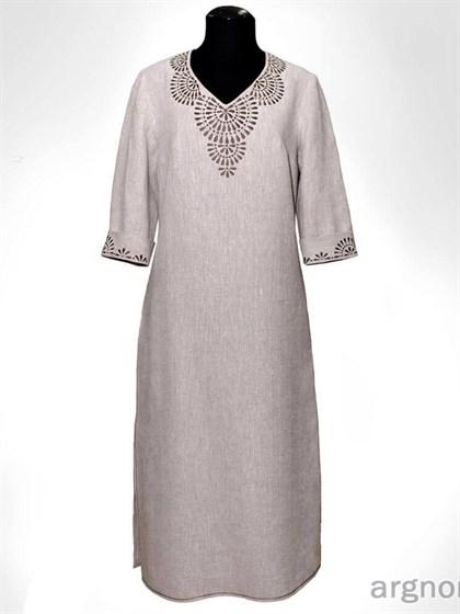 Платье с вышивкой из льна - фото 31252