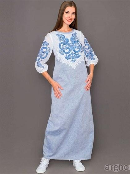 Длинное платье с печатным рисунком из льна - фото 35544