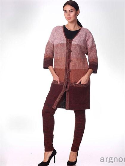 Вязаное пальто из льна - фото 31818