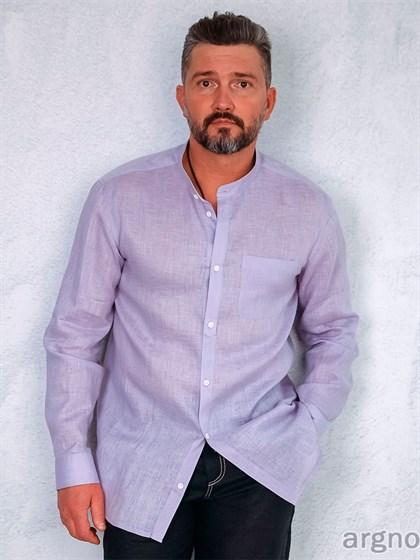 Рубашка мужская с воротником-стойка - фото 31859