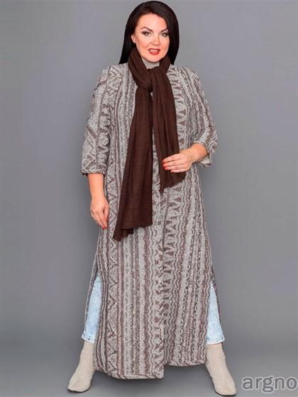 Длинное пальто из льняной ткани с разрезами - фото 31933