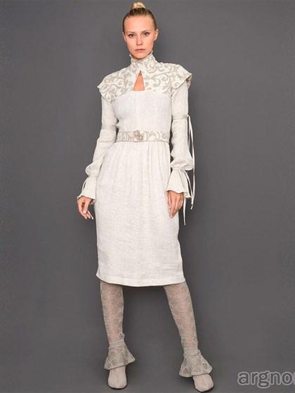 Дизайнерское платье с поясом (лен) - фото 31990