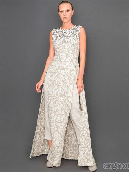 Платье с вышивкой бисером изо льна - фото 31998