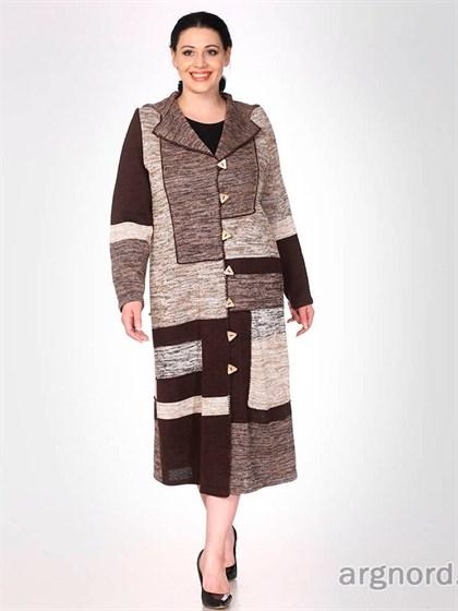 Вязаное пальто прямого кроя - фото 32363