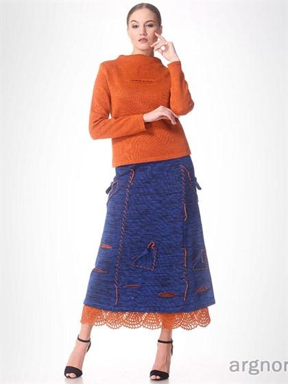 Трикотажная юбка изо льна - фото 32452