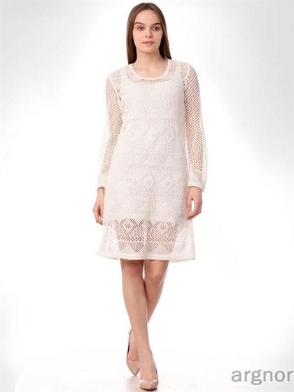 Ажурное льняное платье (с подкладкой) - фото 32871