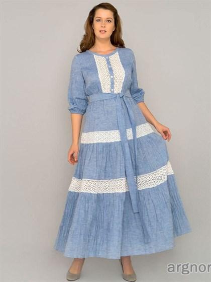 Платье льняное с кружевом - фото 32927