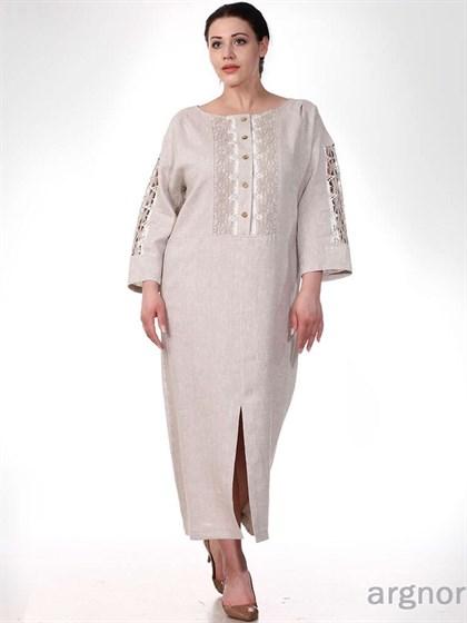 Льняное платье с кружевом - фото 33132