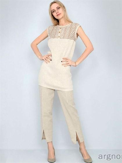 Короткие льняные брюки с разрезами - фото 33252